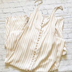 Bleuh Ciel Tan & White Striped Maxi Dress